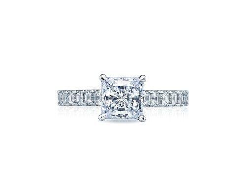 TACORI35-25pr65 This Tacori engagement ring glows with asscher cut diamonds halfway around the band,...