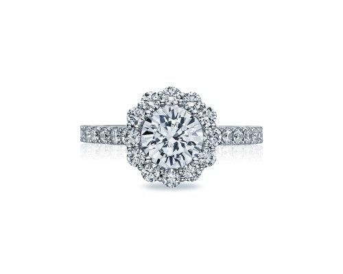 TACORI37-2RD7 A perfectly round bloom highlights the round brilliant diamond at the center of this...