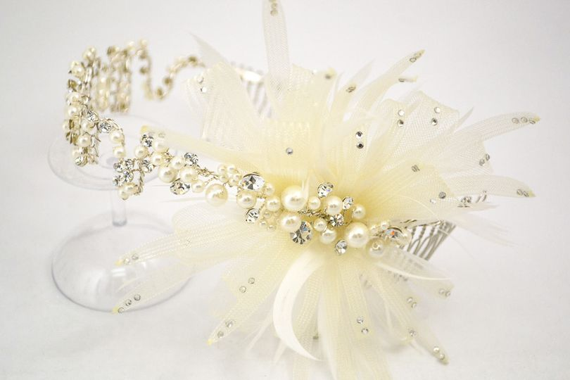 Inspired by 1920's flapper headpieces, this gorgeous headband can be worn over the hair or across...