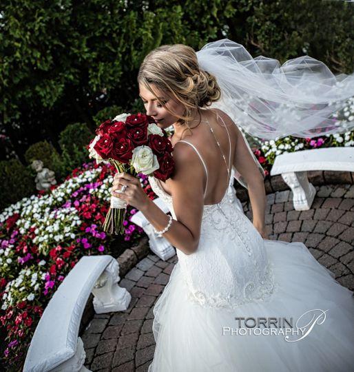 Bride by the garden