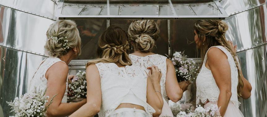 Bride and bridesmaids at the Airstream photo Booth