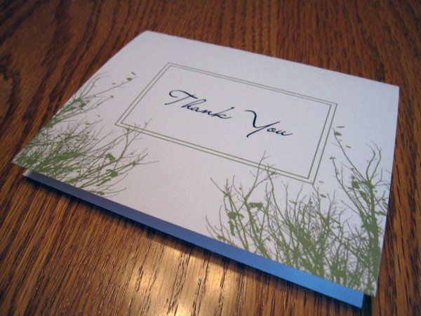 Folded thank you card. Thank you's can be made to match your invitation theme.