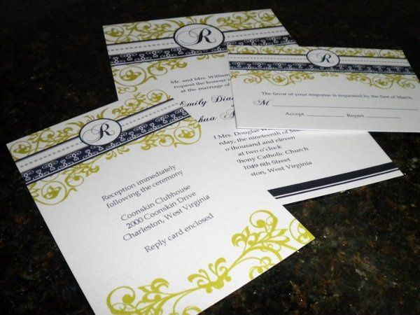 Wedding invitation, reception card and response card on pearlescent paper
