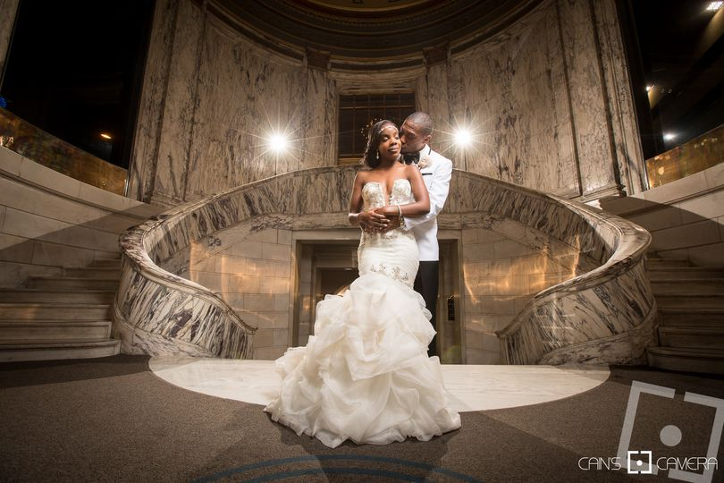 Jessica and Malik at the entrance of the Venetian Room