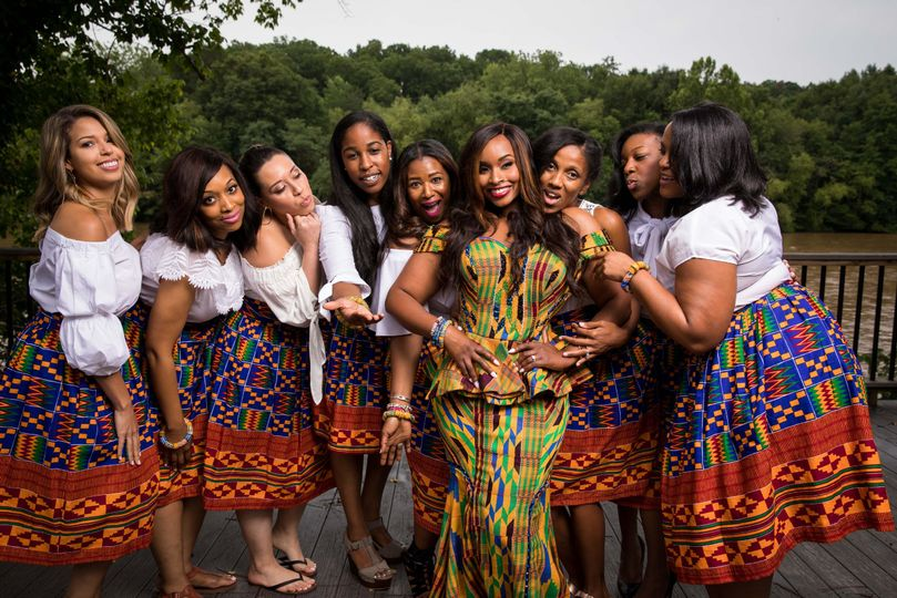 Marice and her bridesmaids during her traditional Ghanian wedding cermony