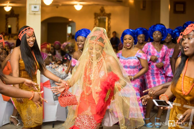 Sandra's entrance at her traditional Nigerian wedding ceremony at the Atlanta Event Center