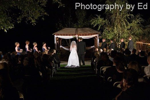 An outside wedding at nite @ Green Mountain Ranch in Devore