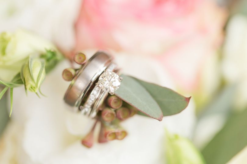 Rings on a flower arrangement