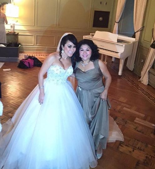 Posing with the bride