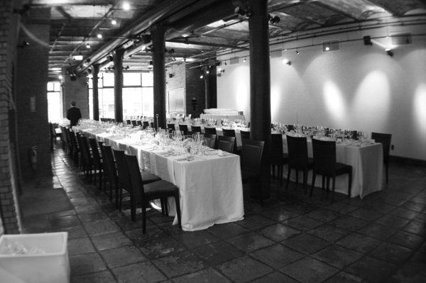 The Gallery set with long, rectangular tables at Astor Center