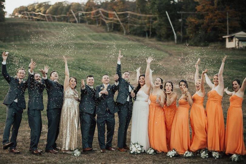 The bridesmaids and the groomsmen with the couple