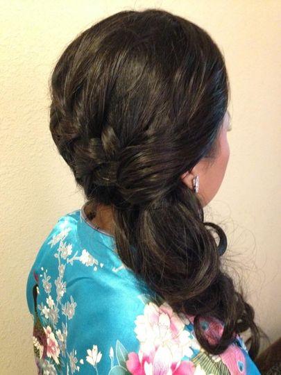 Side swept ponytail