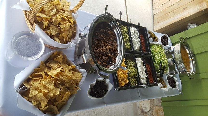 Think out of the box with our fabulous nacho bar!  Your guests can make their own creation!