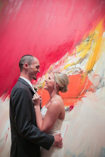 This couple had their first look in our modernist galleries! Photo Credit: Rachel Photographs