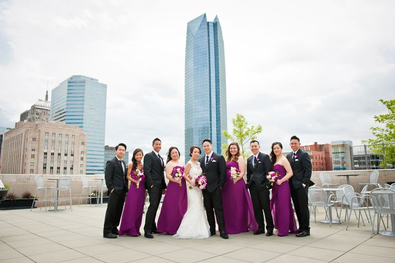 This couple had their first look and wedding party photos on the Museum's Roof Terrace before going...