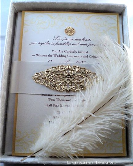 Damask Silk Box with Gold Embellishment and Feather Plume