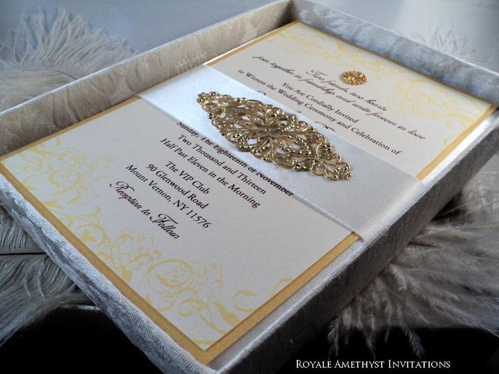 Tmx 1344985512903 GoldInvite4 Bronx wedding invitation
