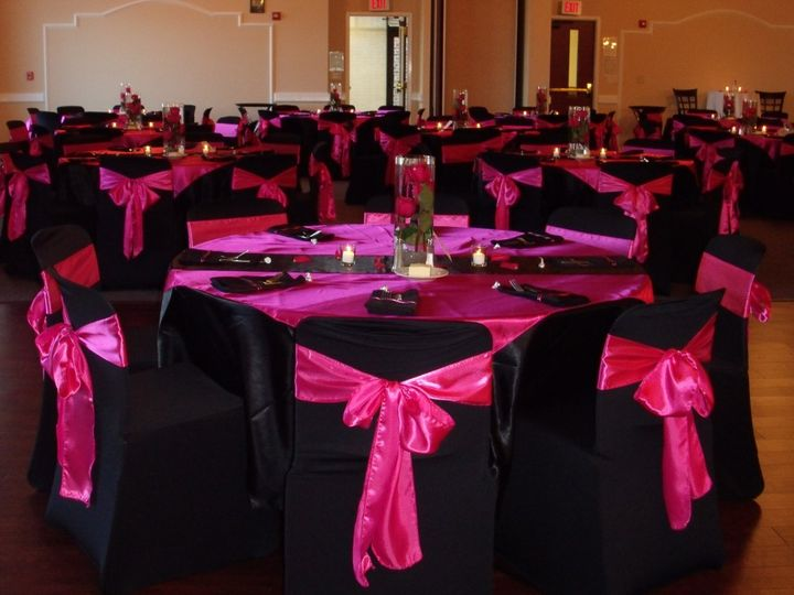 Black and pink themed reception