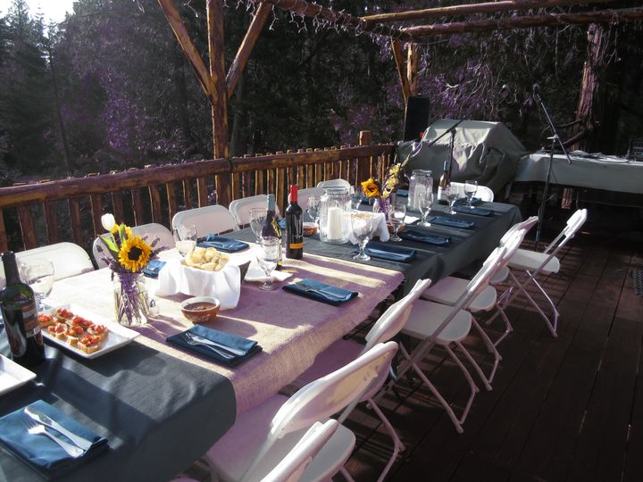 Rehearsal dinner set up at Pine Rose Cabins