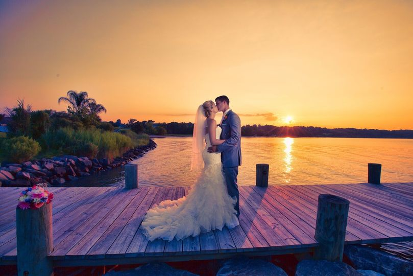 Sunset kiss on the dock