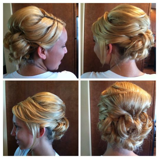 Short hair up-do. Actual hair style is an angled bob