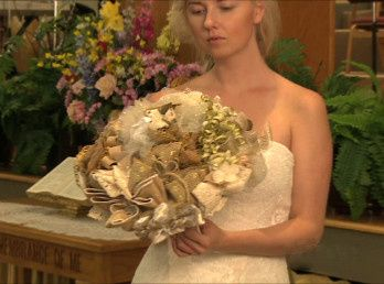 Making a rehearsal bouquet for the bride is part of a bridal wedding keepsake. With the Good Wish...