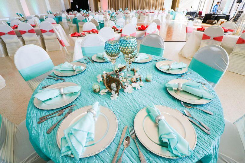 Aqua blue table set-up
