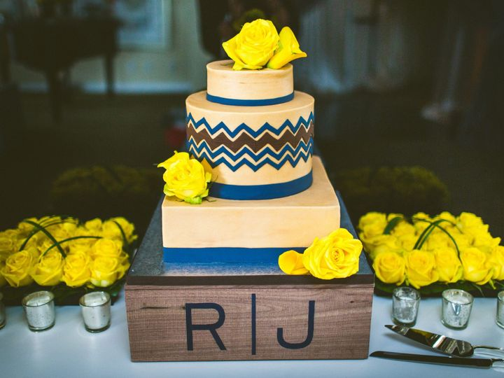Tmx 1464111590854 Navy And Yellow Wedding Chevron Cake Min Ocoee, Florida wedding cake