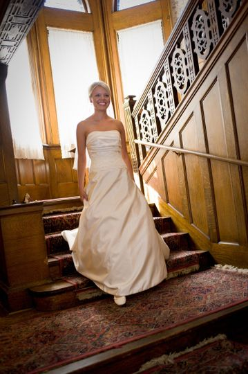 Bride walks from stairs