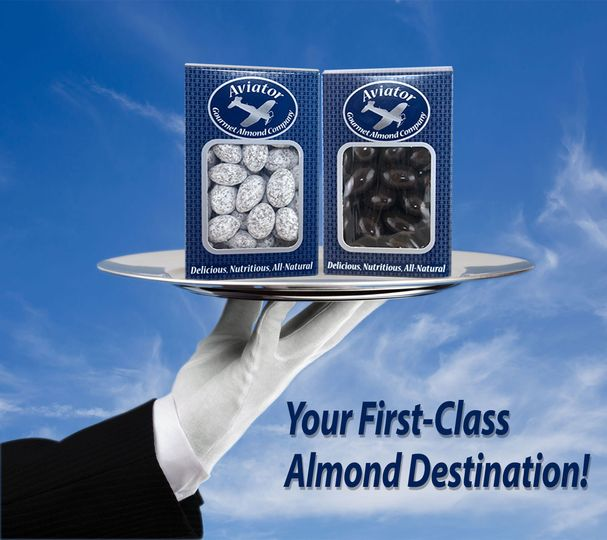 If you are thinking of unique specialty gifts, Aviator Gourmet Almonds will impress your guests!