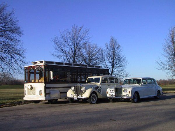 One of Our Vintage Trolleys alongside the 1937 & 1964 Rolls Royce