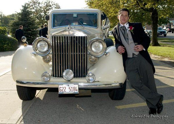 Our First Groom from Victoria in the Park Leaning on his Rolls Royce