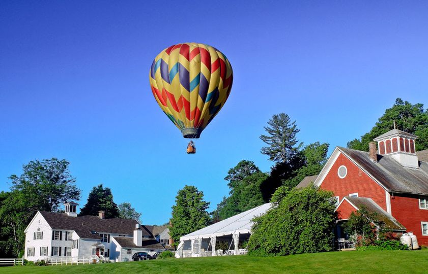 A hot air balloon visits