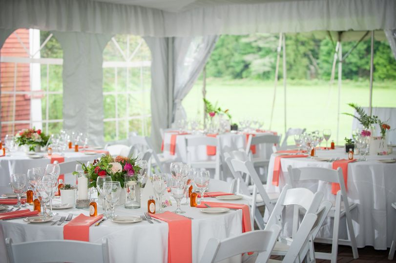 Reception tables and salmon decor