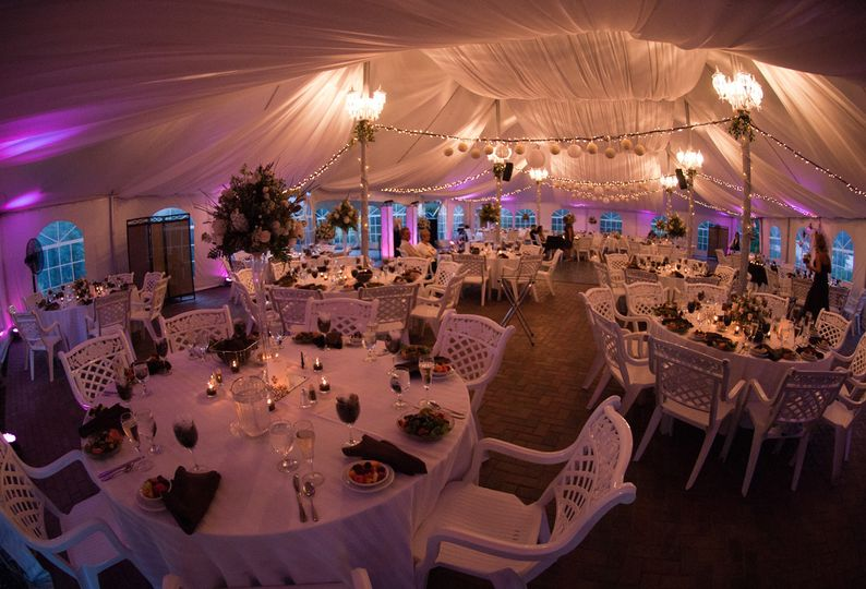 Reception tent lighting and decor