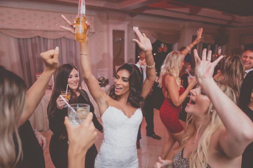 A bride celebrating