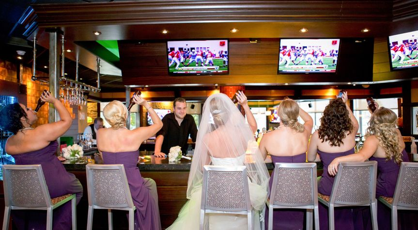 Bridal party at the bar