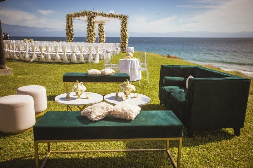 Pink and modern beach wedding