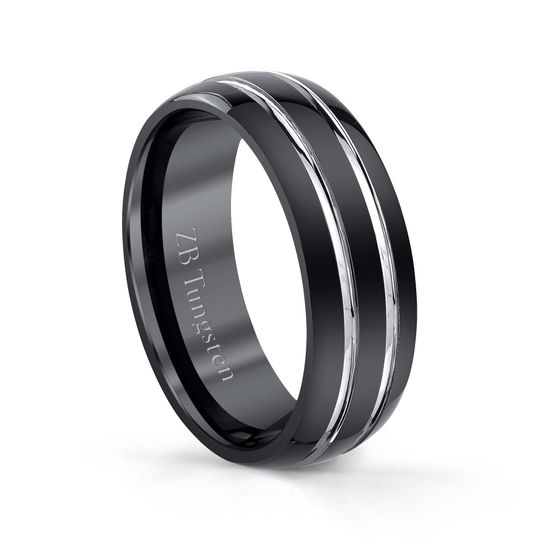 8mm - Polished black design with highly polished grooves in the center.  Comfort fit
