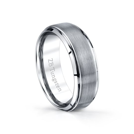 8mm- Raised brushed center with smooth polished beveled edges.  Comfort fit