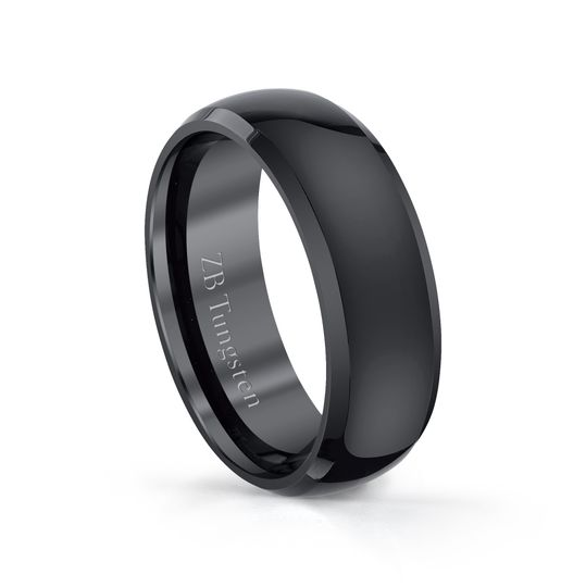 8mm - Highly polished black domed design that features polished beveled edges.  Comfort fit