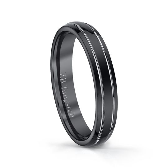 4mm - Polished black design with highly polished grooves in the center.  Comfort fit