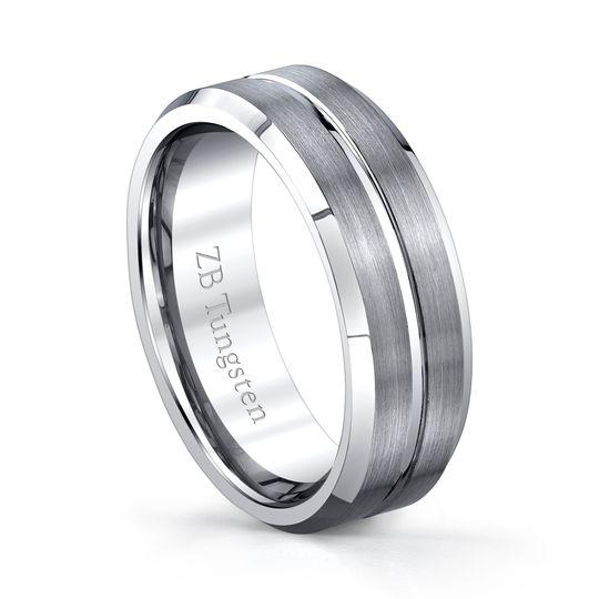 8mm - Brushed design with a grooved polished center and polished beveled edges.  Comfort fit