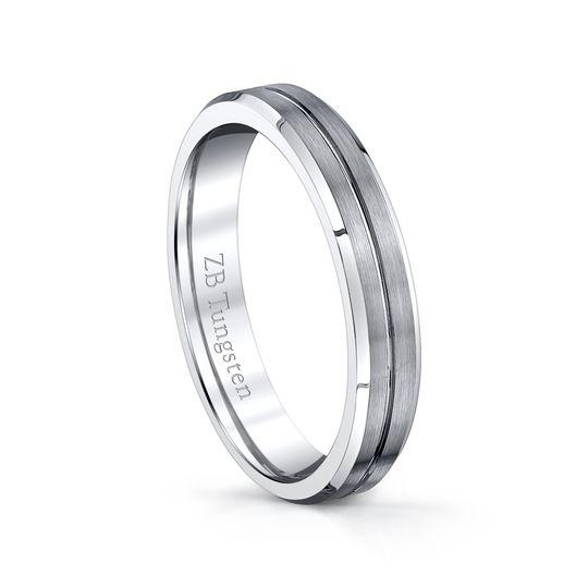 4mm - Brushed design with a grooved polished center and polished beveled edges.  Comfort fit