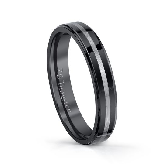 4mm - Smooth black finish and a brushed center stripe.  Comfort fit