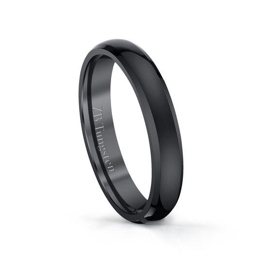 4mm - Highly polished black domed design that features polished beveled edges.  Comfort fit