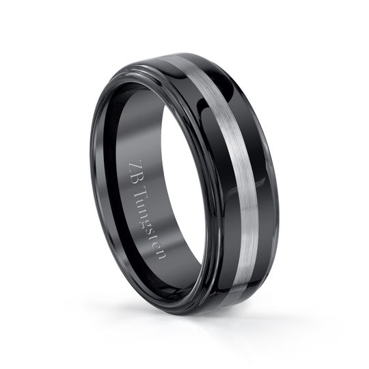 8mm - Smooth black finish and a brushed center stripe.  Comfort fit