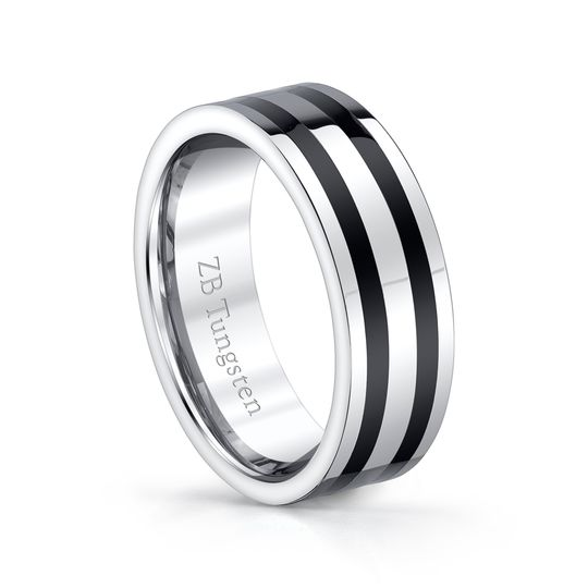 8mm - Bold design with two black lines running through the center of a ring that is highly polished....