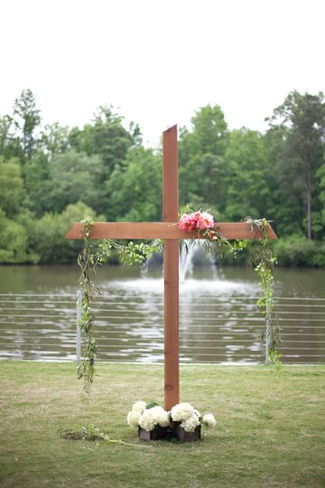CRUSH Event Rentals LLC Cross Used As Altar Backdrop At This Beautiful  Wedding