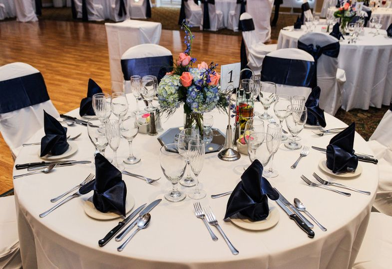 Table setting and navy decor